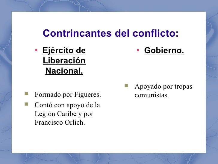 Contrincantes del conflicto:    ●        Ejército de             ●                                    Gobierno.        Lib...