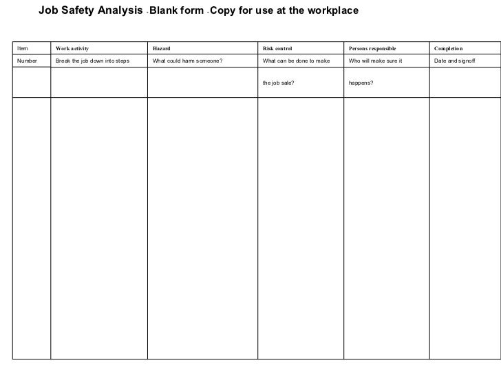 Job Safety Analysis Form Template. Job Safety Analysis Forms And