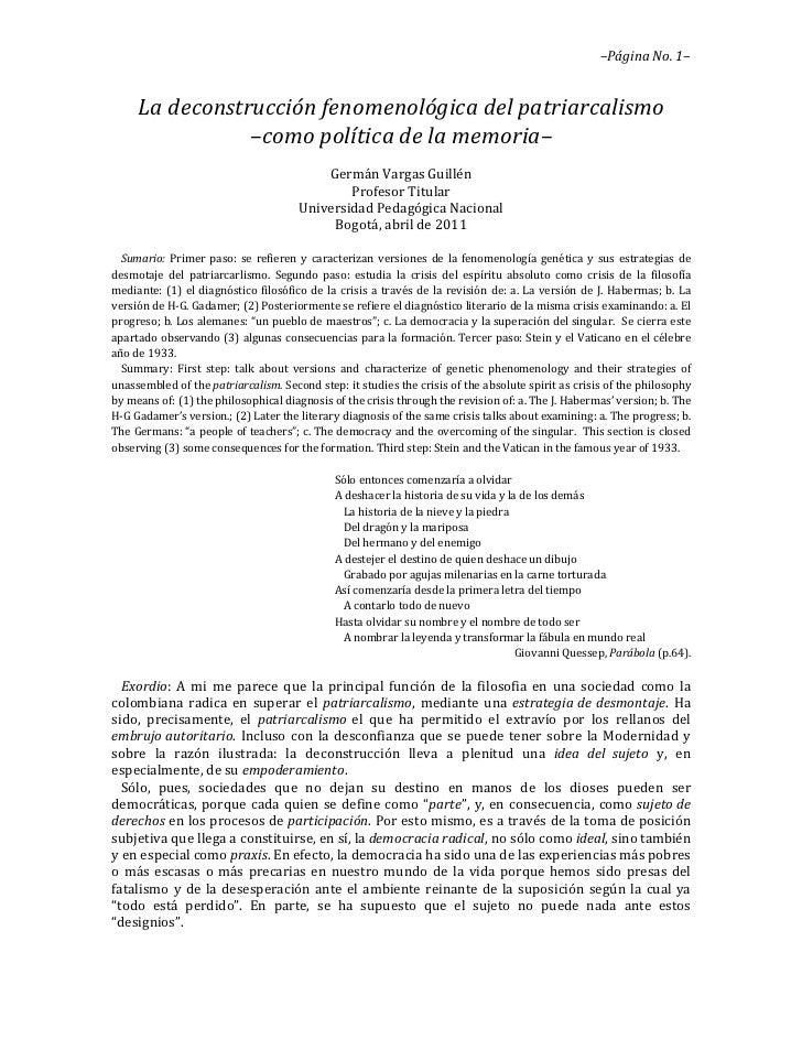 –Página No. 1–     La deconstrucción fenomenológica del patriarcalismo                –como política de la memoria–       ...