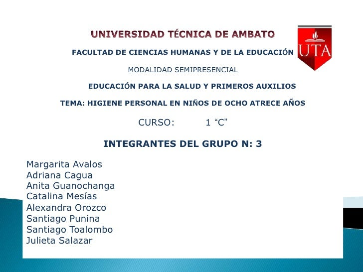 FACULTAD DE CIENCIAS HUMANAS Y DE LA EDUCACIÓN                    MODALIDAD SEMIPRESENCIAL           EDUCACIÓN PARA LA SAL...