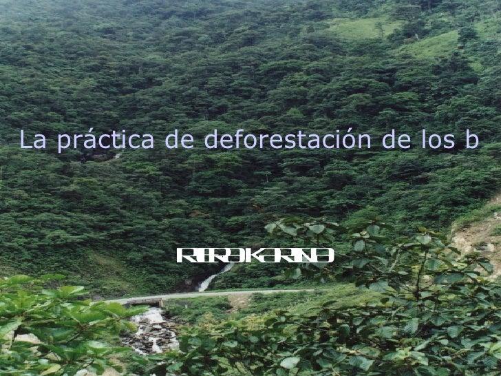 La práctica de deforestación de los bos            R R KR A             I A AI             E    N