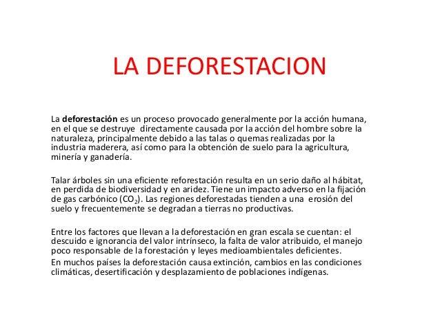 LA DEFORESTACIONLa deforestación es un proceso provocado generalmente por la acción humana,en el que se destruye directame...