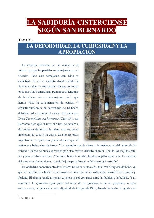 La deformidad, la curiosidad y la apropiación la sabiduría cisterciense según san bernardo (10)