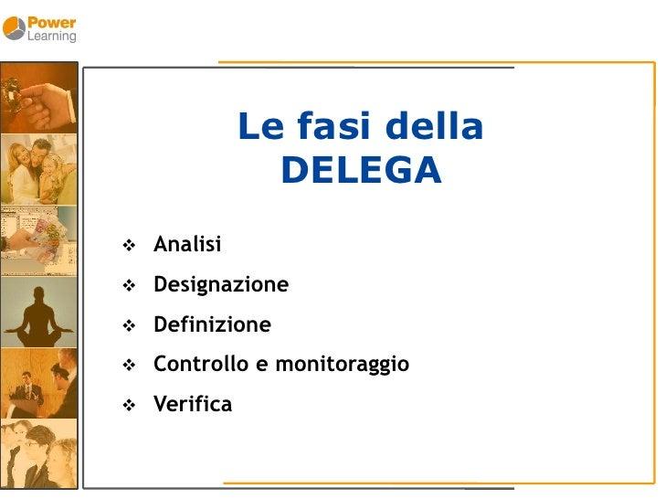 Le fasi della                  DELEGA     Analisi       Designazione       Definizione       Controllo e monitoraggio ...