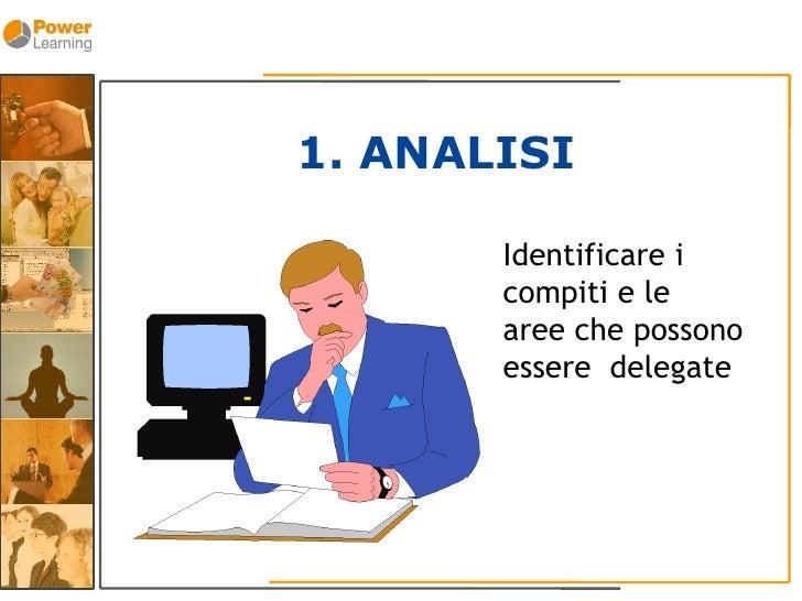 1. ANALISI         Identificare i        compiti e le        aree che possono        essere delegate