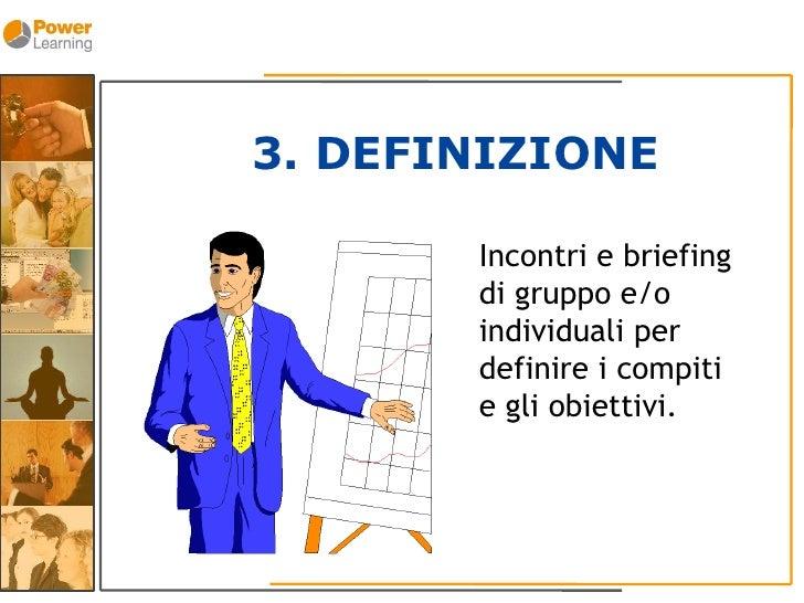 3. DEFINIZIONE         Incontri e briefing        di gruppo e/o        individuali per        definire i compiti        e ...