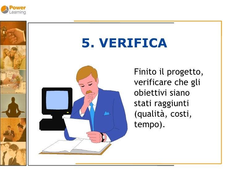 5. VERIFICA        Finito il progetto,       verificare che gli       obiettivi siano       stati raggiunti       (qualità...