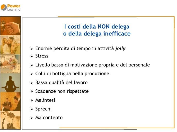 I costi della NON delega                   o della delega inefficace      Enorme perdita di tempo in attività jolly      ...