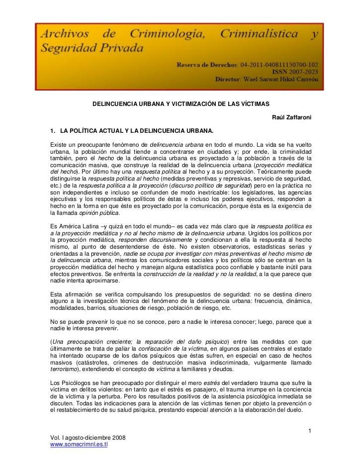 DELINCUENCIA URBANA Y VICTIMIZACIÓN DE LAS VÍCTIMAS                                                                       ...