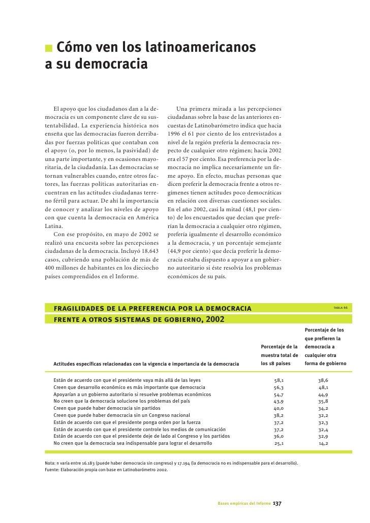 I Cómo ven los latinoamericanos a su democracia      El apoyo que los ciudadanos dan a la de-                      Una pri...