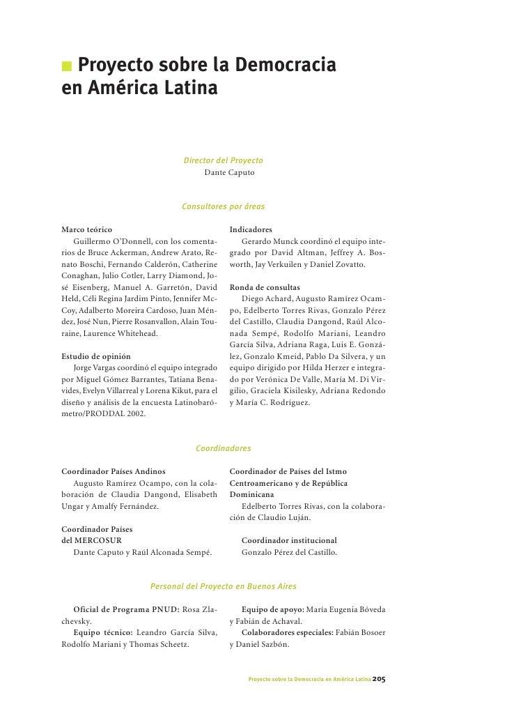 I Proyecto sobre la Democracia en América Latina                                        Director del Proyecto             ...