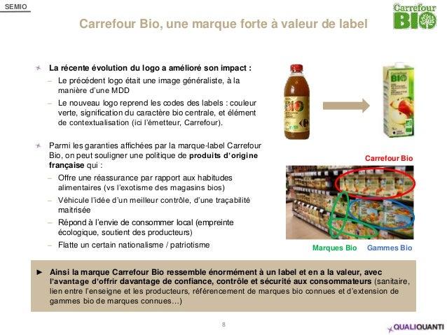 SEMIO Carrefour Bio, une marque forte à valeur de label 8 La récente évolution du logo a amélioré son impact : – Le précéd...