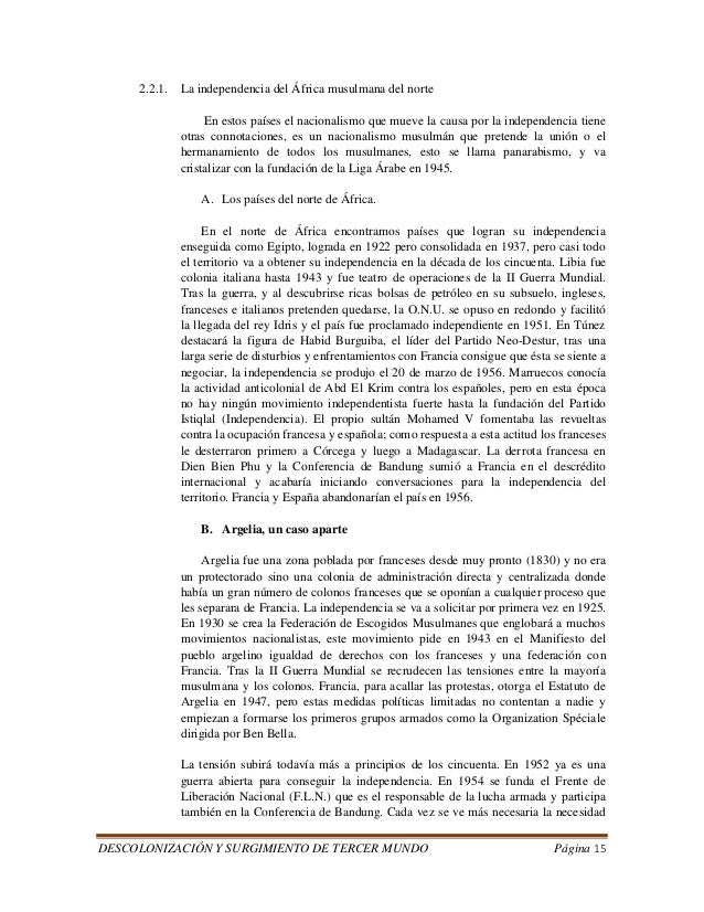 DESCOLONIZACIÓN Y SURGIMIENTO DE TERCER MUNDO Página 15  2.2.1. La independencia del África musulmana del norte  En estos ...