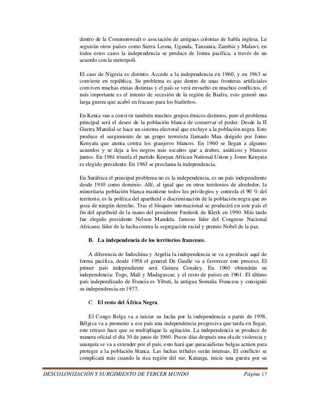 DESCOLONIZACIÓN Y SURGIMIENTO DE TERCER MUNDO Página 17  dentro de la Commonwealt o asociación de antiguas colonias de hab...