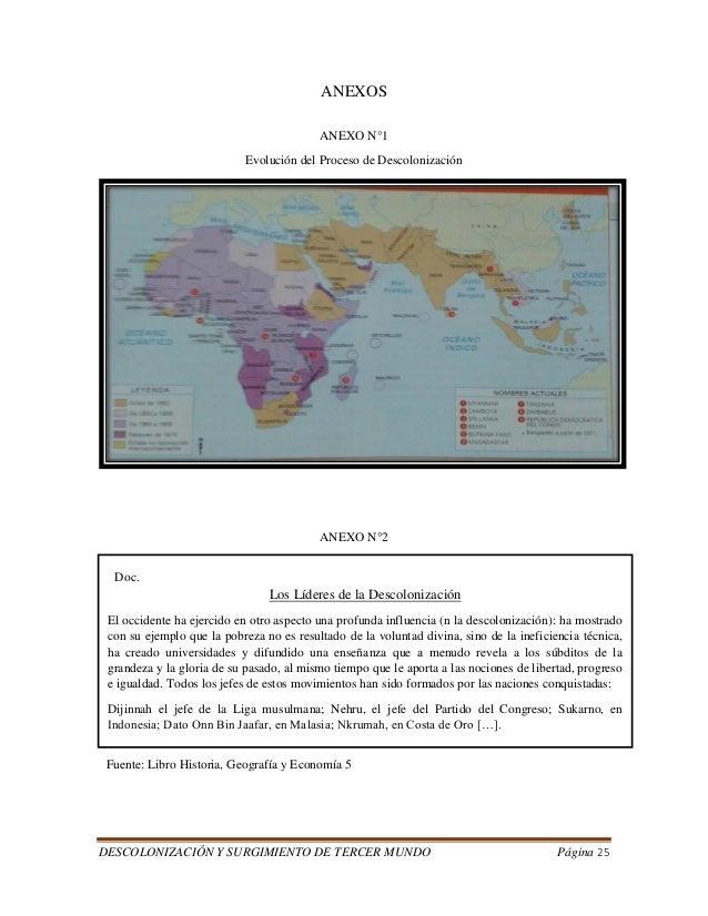 DESCOLONIZACIÓN Y SURGIMIENTO DE TERCER MUNDO Página 25  ANEXOS  ANEXO N°1  Evolución del Proceso de Descolonización  ANEX...