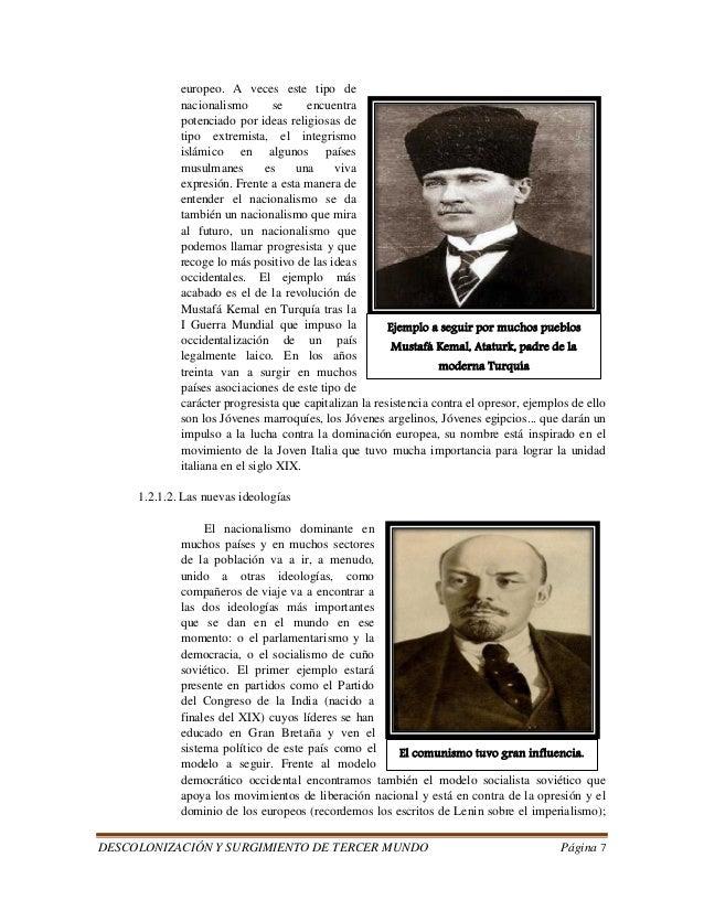 DESCOLONIZACIÓN Y SURGIMIENTO DE TERCER MUNDO Página 7  europeo. A veces este tipo de  nacionalismo se encuentra  potencia...