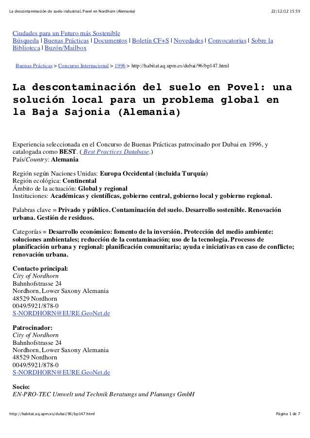 La descontaminación de suelo industrial, Povel en Nordhorn (Alemania)                                22/12/12 15:59 Ciudad...