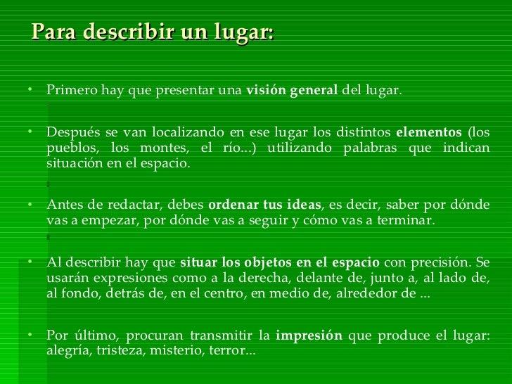 Descripcion De Un Lugar En Ingles Ejemplos Colección De Ejemplo