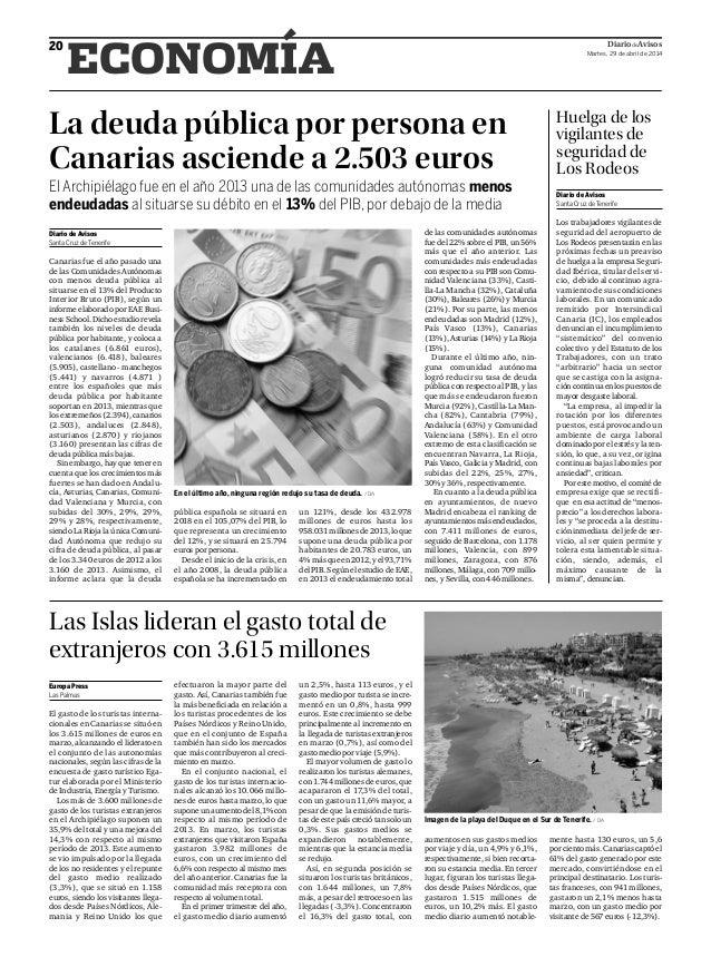 DiariodeAvisos Martes, 29 de abril de 2014 20 ECONOMÍA La deuda pública por persona en Canarias asciende a 2.503 euros El ...