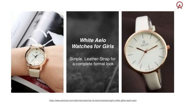29ec46eff White Aelo Watches for Girls Simple, Leather-Strap ...