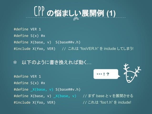 """これは """"fooVER.h"""" を include してしまう! ❄ 以下のように書き換えれば動く… まず base と v を展開させる これは """"foo1.h"""" を include! CPPの悩ましい展開例 (1) ・・・!?"""
