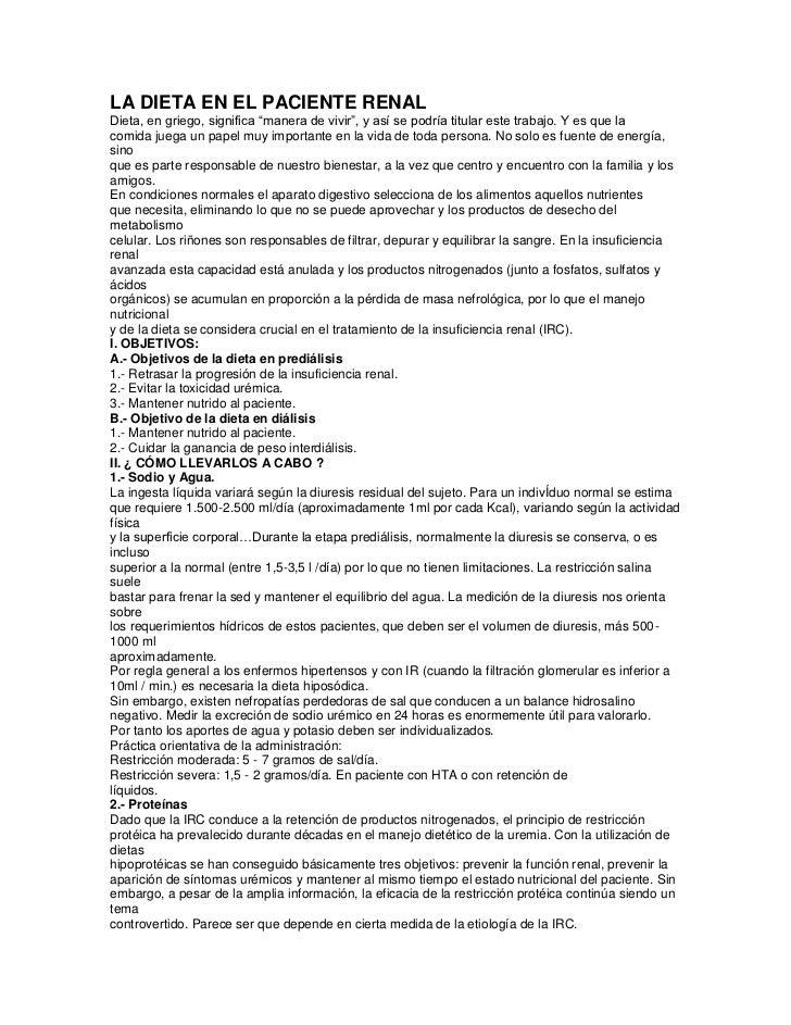 La dieta en el paciente renal for Alimentos prohibidos para insuficiencia renal