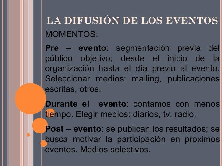 La difusión de los eventos Slide 3