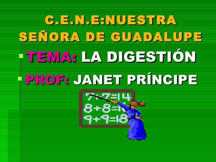 C.E.N.E:NUESTRA SEÑORA DE GUADALUPE <ul><li>TEMA:  LA DIGESTIÓN </li></ul><ul><li>PROF:  JANET PRÍNCIPE </li></ul>