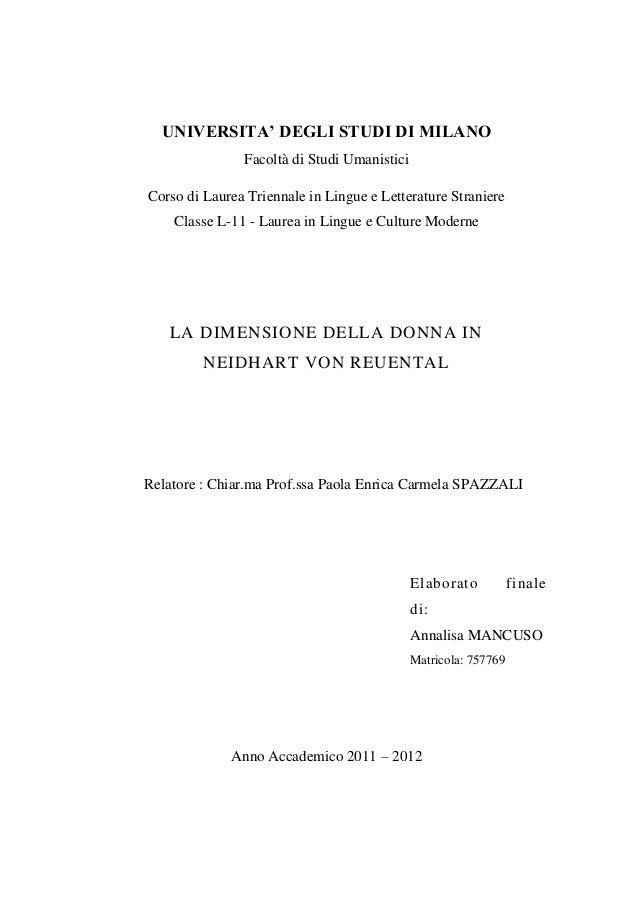 UNIVERSITA' DEGLI STUDI DI MILANO Facoltà di Studi Umanistici Corso di Laurea Triennale in Lingue e Letterature Straniere ...