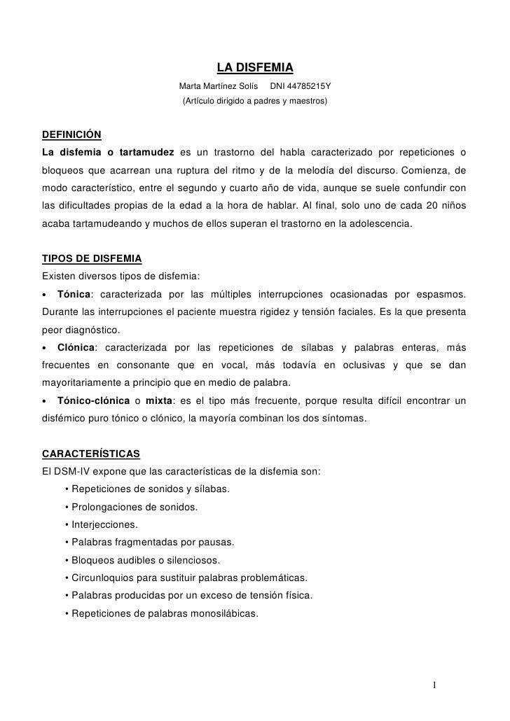 LA DISFEMIA                              Marta Martínez Solís    DNI 44785215Y                               (Artículo dir...