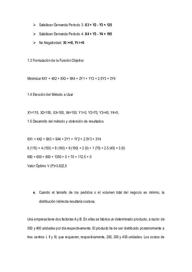  Satisfacer Demanda Período 3: X3 + Y2 - Y3 = 125   Satisfacer Demanda Período 4: X4 + Y3 - Y4 = 195   No Negatividad: ...