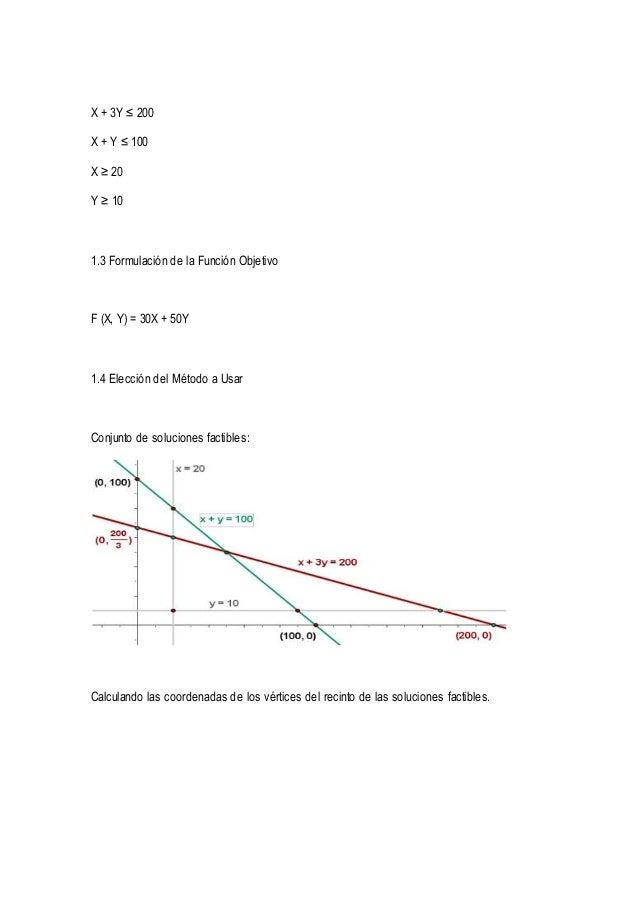 X + 3Y ≤ 200  X + Y ≤ 100  X ≥ 20  Y ≥ 10  1.3 Formulación de la Función Objetivo  F (X, Y) = 30X + 50Y  1.4 Elección del ...