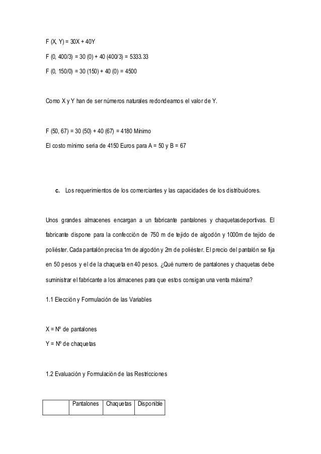 F (X, Y) = 30X + 40Y  F (0, 400/3) = 30 (0) + 40 (400/3) = 5333.33  F (0, 150/0) = 30 (150) + 40 (0) = 4500  Como X y Y ha...