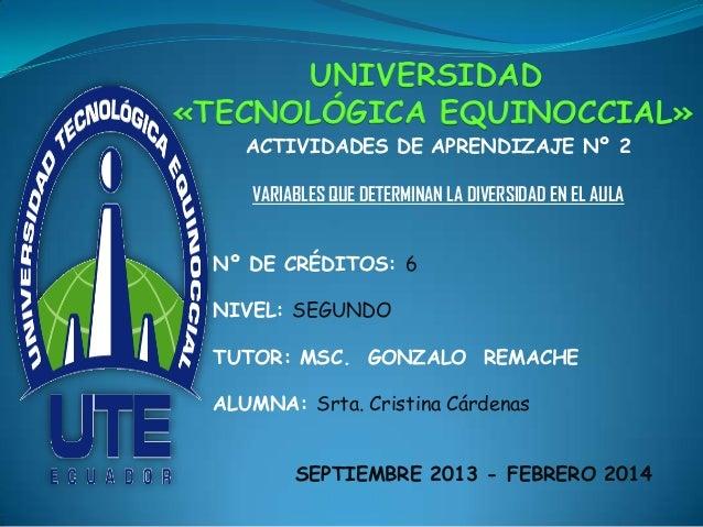 UNIVERSIDAD «TECNOLÓGICA EQUINOCCIAL» ACTIVIDADES DE APRENDIZAJE Nº 2 VARIABLES QUE DETERMINAN LA DIVERSIDAD EN EL AULA Nº...