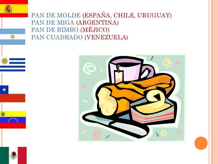 PAN DE MOLDE  (ESPAÑA, CHILE, URUGUAY) PAN DE MIGA  (ARGENTINA) PAN DE BIMBO  (MÉJICO) PAN CUADRADO  (VENEZUELA)