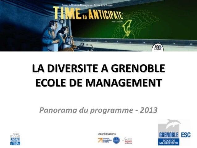 LA DIVERSITE A GRENOBLE ECOLE DE MANAGEMENT Panorama du programme - 2013