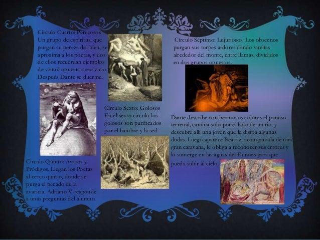 Círculo Cuarto: Perezosos Un grupo de espíritus, que purgan su pereza del bien, se aproxima a los poetas, y dos de ellos r...