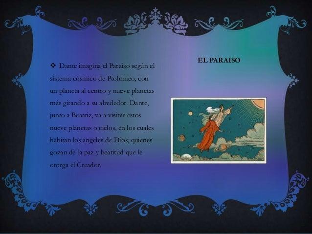 EL PARAISO  Dante imagina el Paraíso según el sistema cósmico de Ptolomeo, con un planeta al centro y nueve planetas más ...