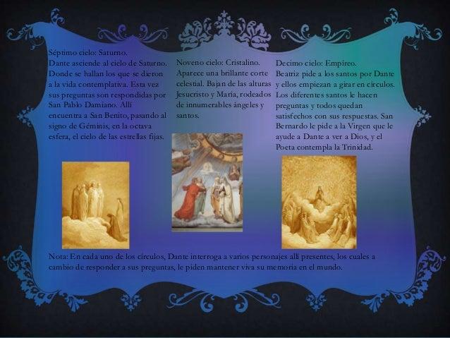 Séptimo cielo: Saturno. Dante asciende al cielo de Saturno. Donde se hallan los que se dieron a la vida contemplativa. Est...