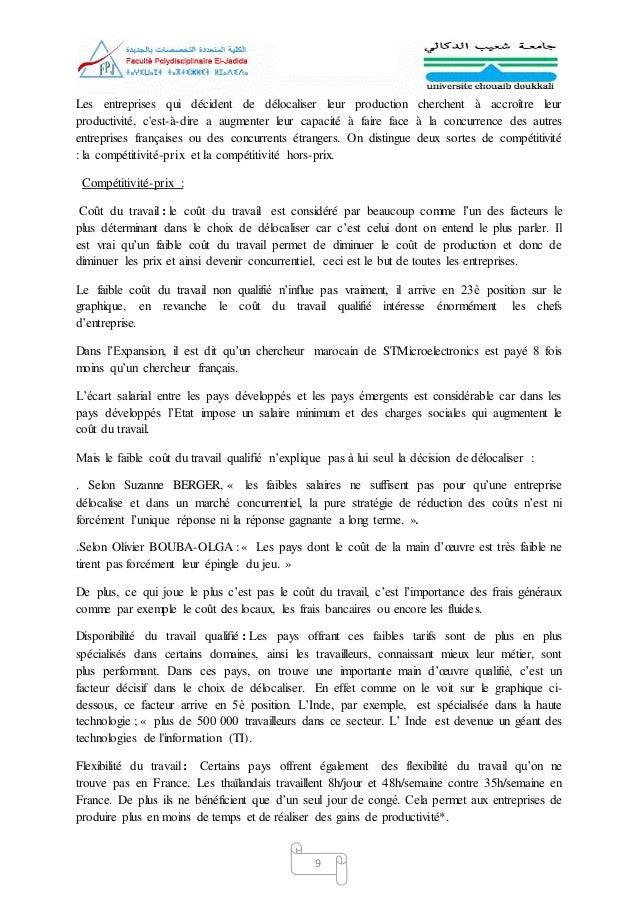La Delocalisation Et Son Incidence Sur Le Developpement Economiqu1
