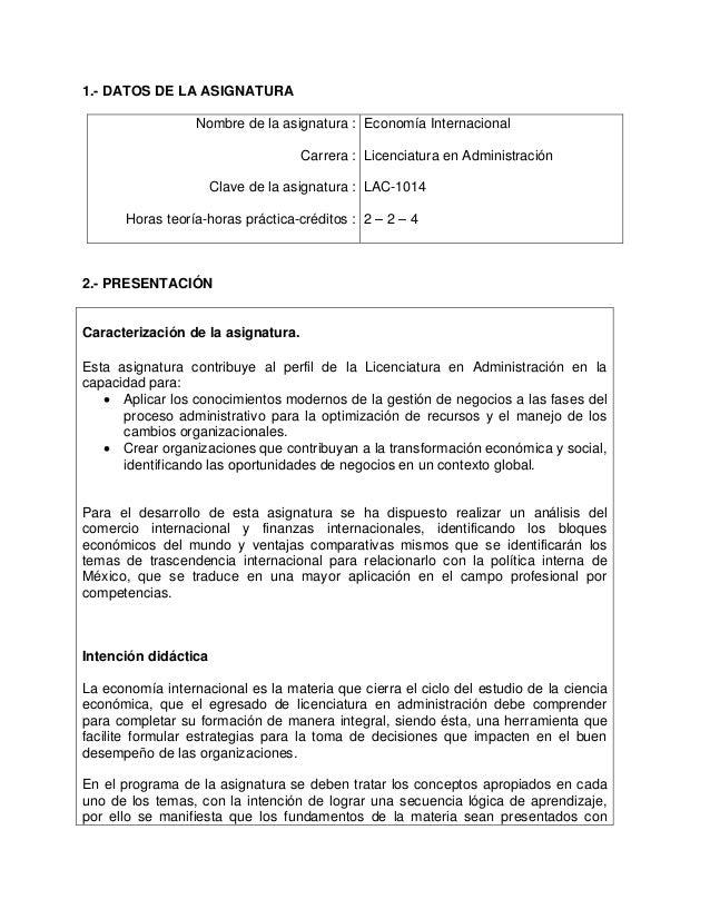 1.- DATOS DE LA ASIGNATURA Nombre de la asignatura : Carrera : Clave de la asignatura : Horas teoría-horas práctica-crédit...