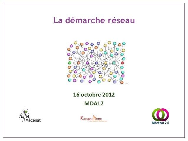 La démarche réseau    16 octobre 2012        MDA17