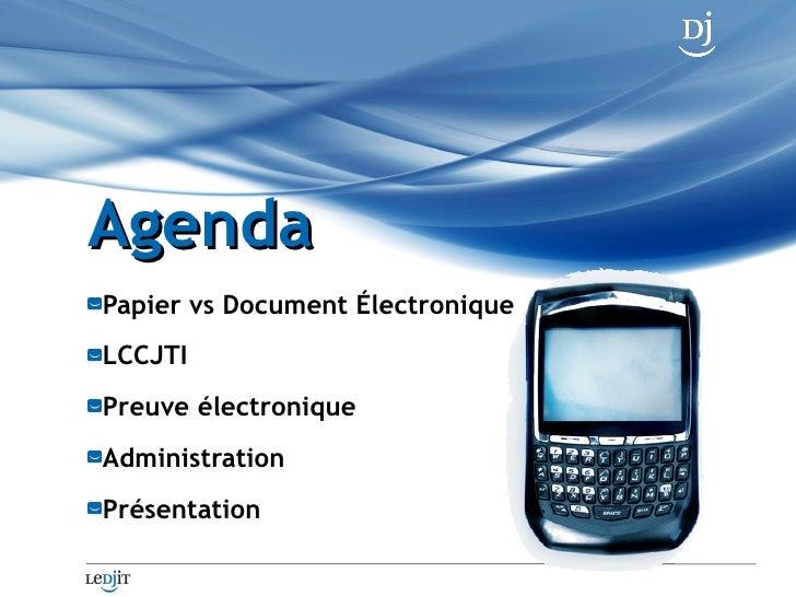 L'Administration de la preuve électronique - Cours de droit du cyberespace Slide 2