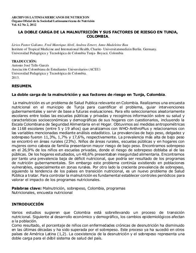 ARCHIVOS LATINOAMERICANOS DE NUTRICION Órgano Oficial de la Sociedad Latinoamericana de Nutrición Vol. 62 No 2, 2012 LA DO...