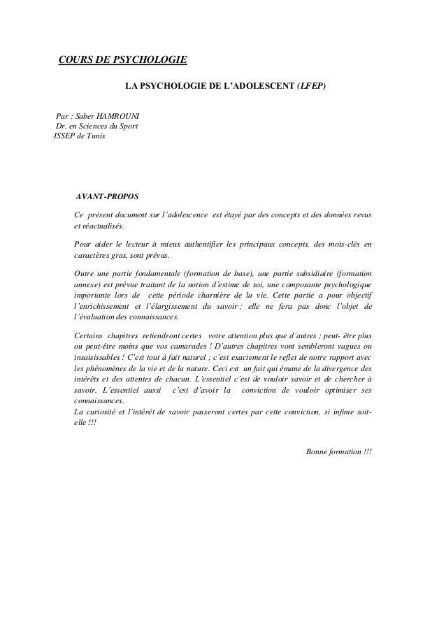 COURS DE PSYCHOLOGIE LA PSYCHOLOGIE DE L'ADOLESCENT (LFEP) Par : Saber HAMROUNI Dr. en Sciences du Sport ISSEP de Tunis AV...