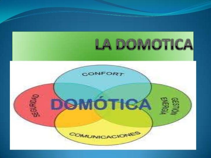 QUE ES LA DOMOTICA Se entiende por domótica el conjunto de sistemas capaces  de automatizar una vivienda, aportando servi...