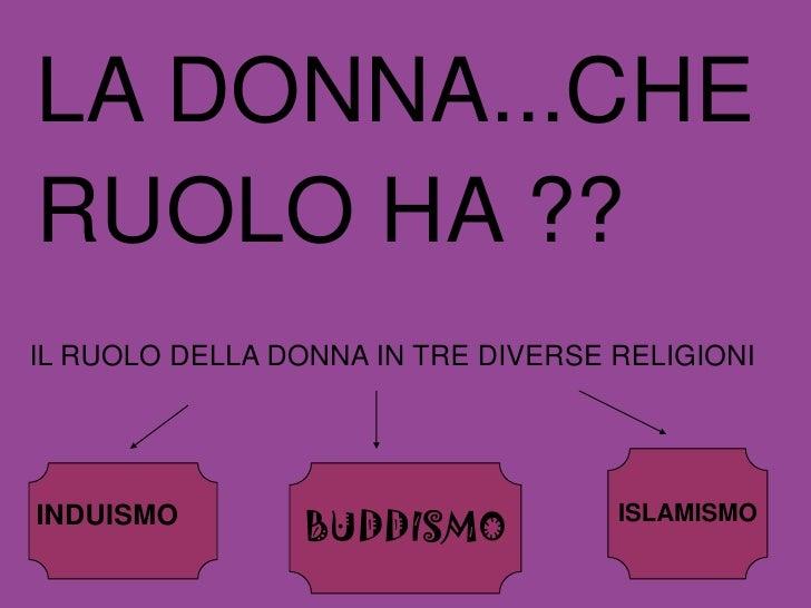 LA DONNA...CHE RUOLO HA ?? IL RUOLO DELLA DONNA IN TRE DIVERSE RELIGIONI                      BUDDISMO INDUISMO           ...