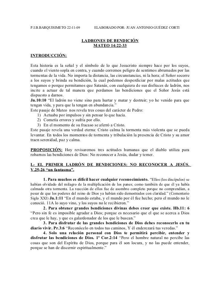 P.I.B.BARQUISIMETO 22-11-09           ELABORADO POR: JUAN ANTONIO GUÉDEZ CORTI                              LADRONES DE BE...