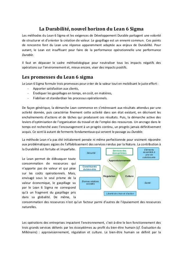 La Durabilité, nouvel horizon du Lean 6 SigmaLes méthodes du Lean 6 Sigma et les exigences de Développement Durable partag...