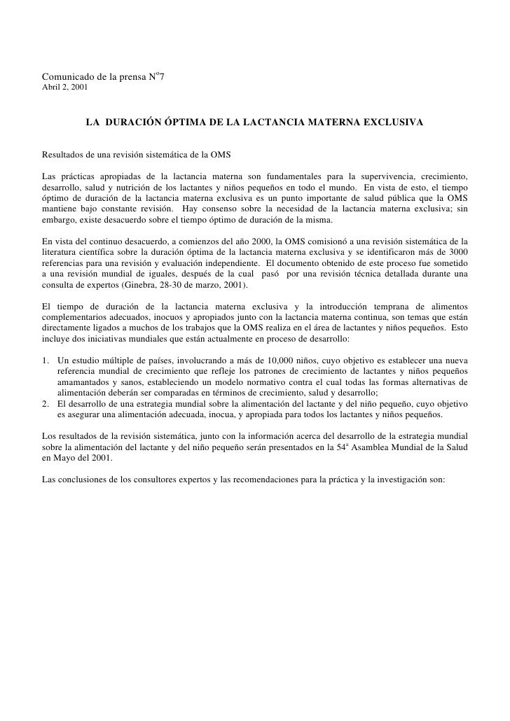 Comunicado de la prensa No7 Abril 2, 2001                LA DURACIÓN ÓPTIMA DE LA LACTANCIA MATERNA EXCLUSIVA   Resultados...